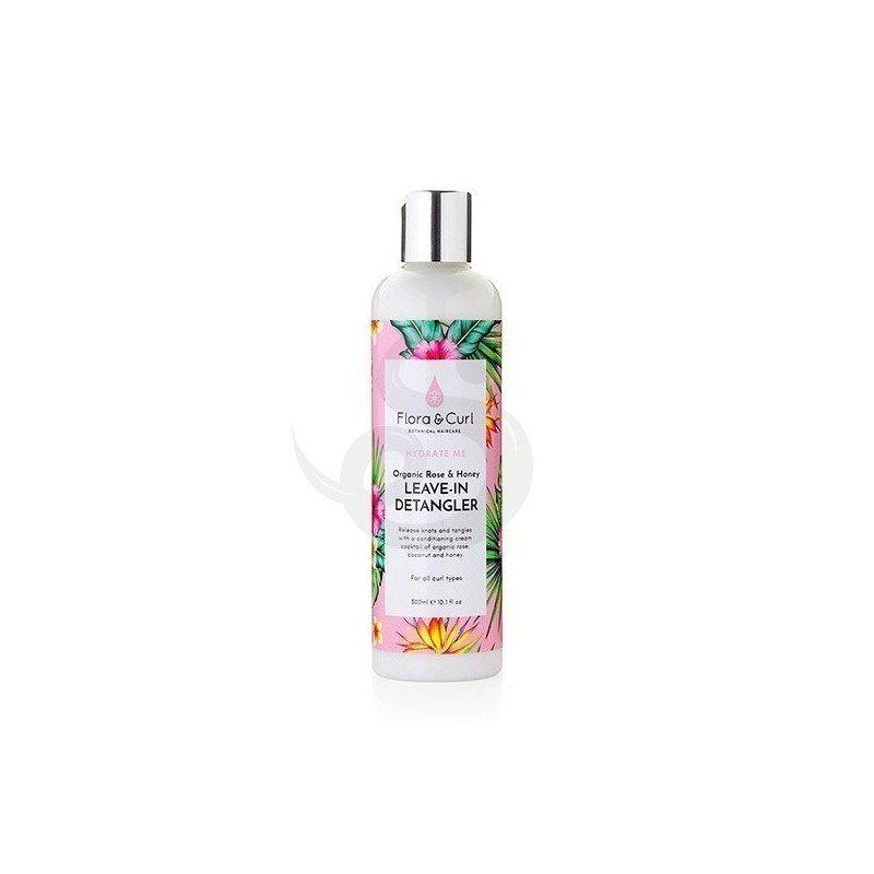 Flora & Curl Hydrate Me Organic Rose & Honey Milk Leave-In Detangler, acondicionador sin aclarado