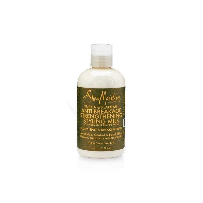 Shea Moisture Organic Yucca & Plantain Anti-Breakage Strengthening Styling Milk, acondicionador desenredante sin aclarado