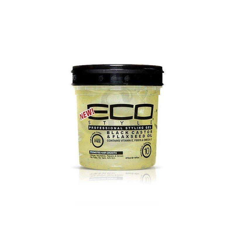 Eco Styler Black Castor Oil And Flax Seed Oil Styling Gel, fijador con aceite de ricino negro de alta duración, sin alcohol