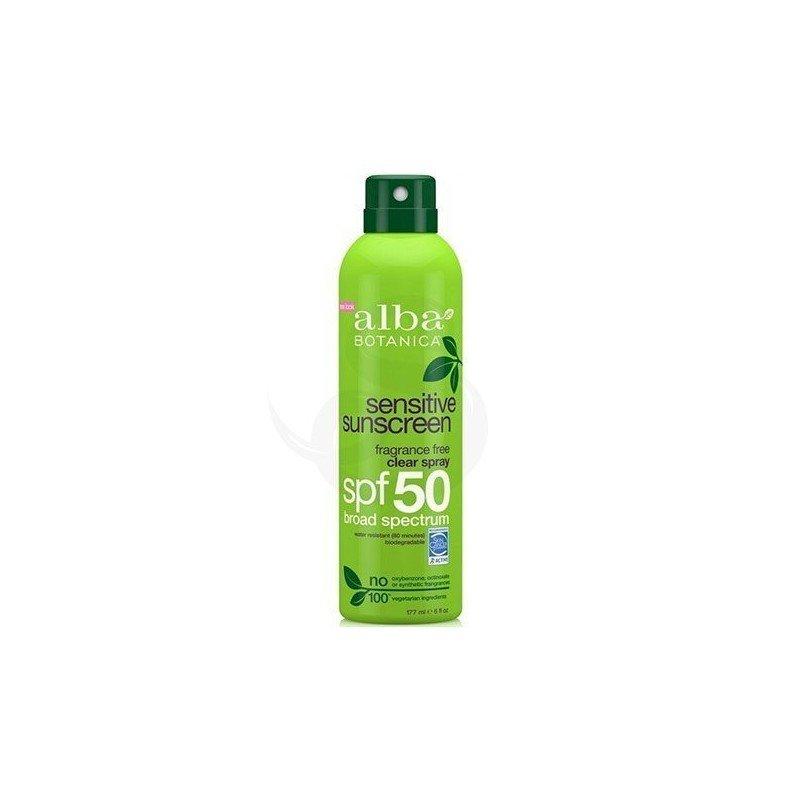 Alba Botanica Sensitive Clear Spray SPF 50, protector solar vegano sin oxibenzona