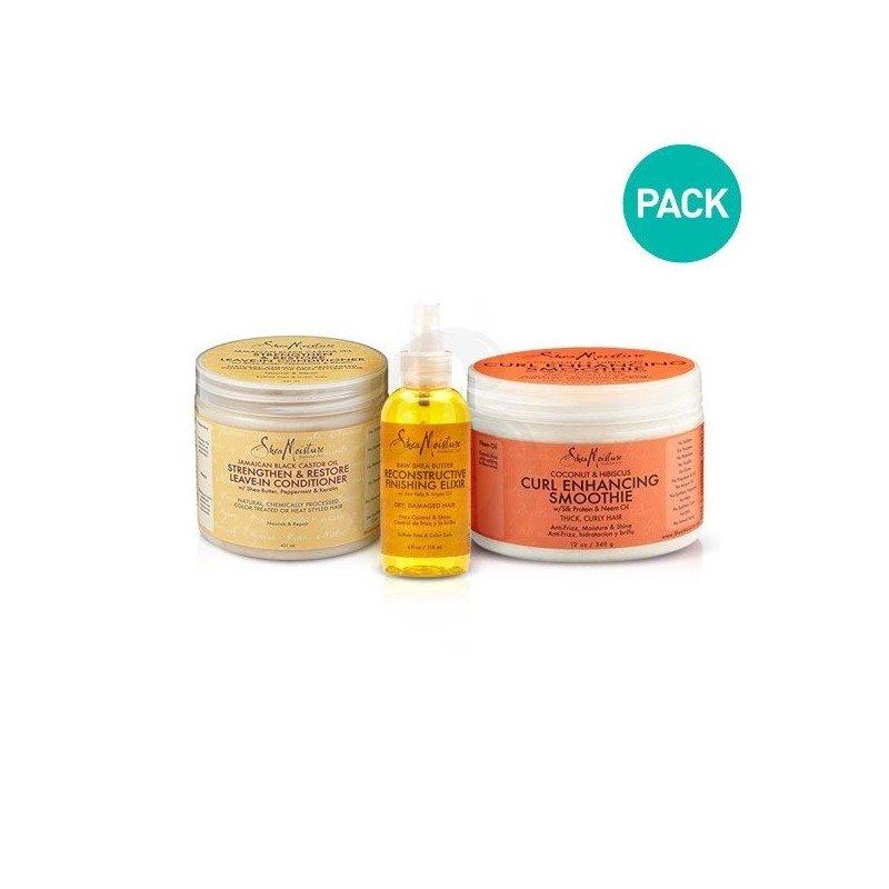 Pack de productos Shea Moisture para hacer el Método L.O.C.