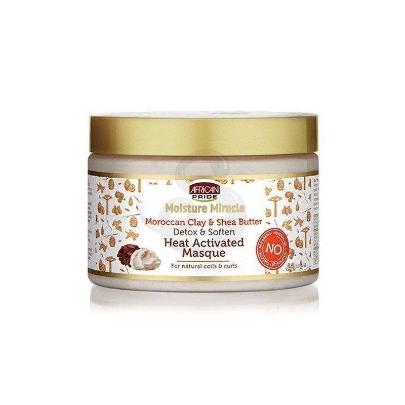 African Pride Miracle Moroccan Clay & Shea Butter Heat Masque, mascarilla detox de arcilla roja y manteca de karité