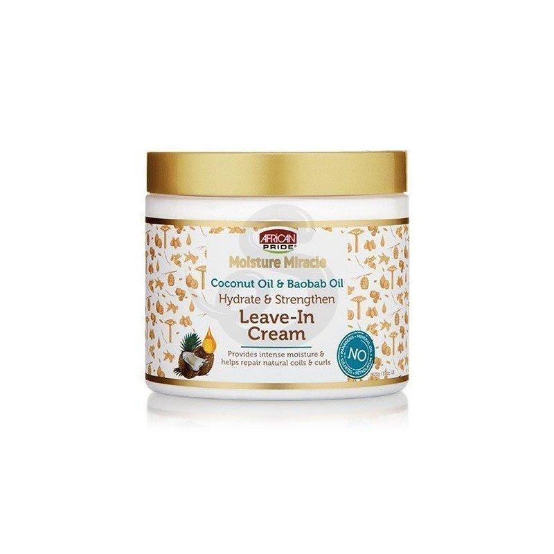 African Pride Moisture Miracle Coconut Oil & Baobab Oil Leave-In Cream, acondicionador sin aclarado con aceite de coco y baobab