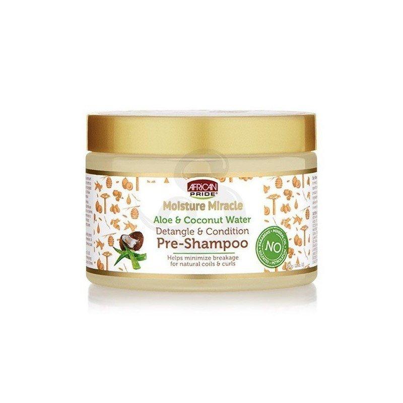 African Pride Moisture Miracle Aloe & Coconut Water Pre-Shampoo, tratamiento acondicionador protector y desenredante