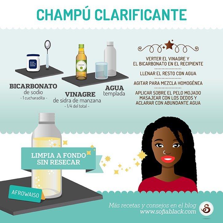 Resumen gráfico de la receta para hacer champú clarificante (DIY)