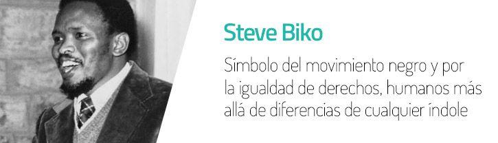 Steve Biko,líder del movimiento de la Conciencia Negra.